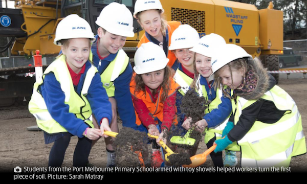 Construction on Victoria's first high-rise school has begun in South Melbourne